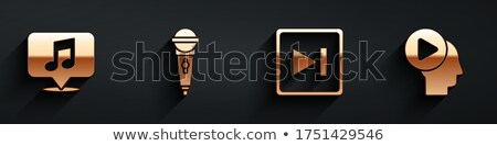 microphone gold vector icon button stock photo © rizwanali3d