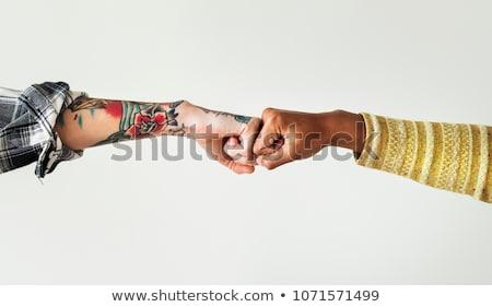 Aperto de mão punho isolado branco mão Foto stock © alexandrenunes