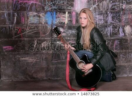 рокер играет гитаре белый фон Сток-фото © PetrMalyshev