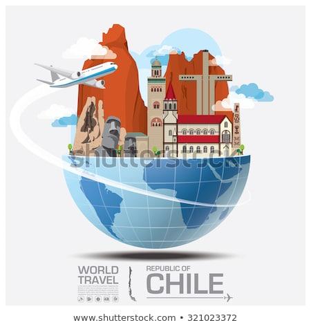 地図 · チリ · 旅行 · パターン · 紫色 · 広場 - ストックフォト © mayboro1964