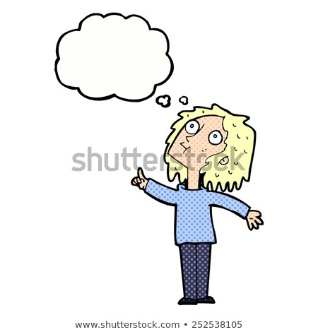 cartoon curious woman looking upwards with thought bubble Stock photo © lineartestpilot