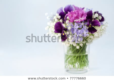 Lily of the valley bouquet in glass on natural background Stock photo © Moravska