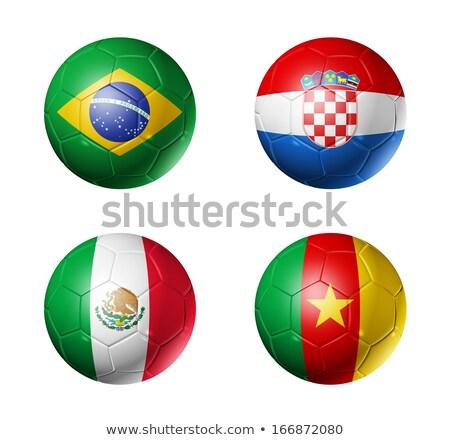 ストックフォト: 3D · サッカー · ブラジル · クロアチア · フラグ