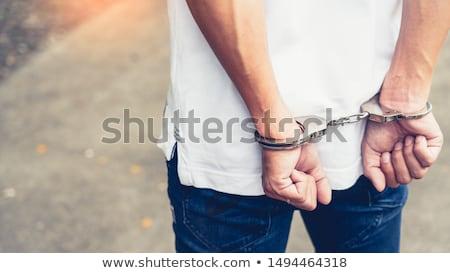 Kajdanki 30 lat więzienia bezpieczeństwa podpisania policji Zdjęcia stock © Suljo