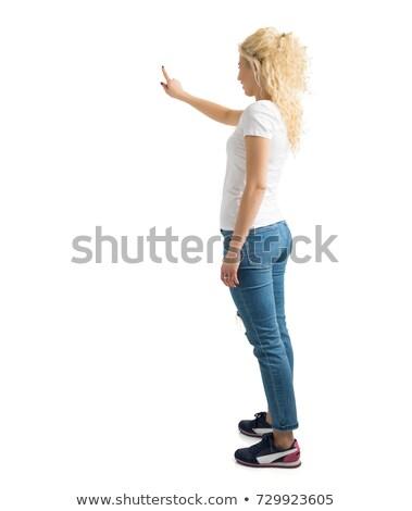 kobieta · dotknąć · coś · business · woman · palec · działalności - zdjęcia stock © fuzzbones0
