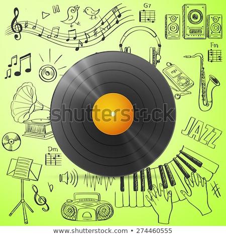 Zwarte vinyl record hand trekken icon Stockfoto © netkov1