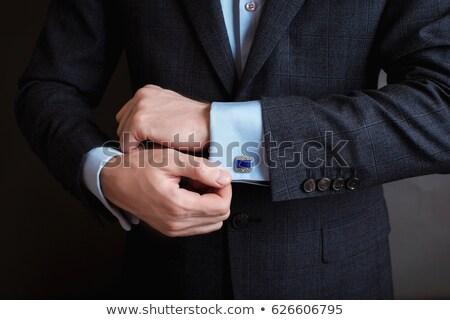 úriember · fekete · nyakkendő · közelkép · visel · kezek - stock fotó © jackethead