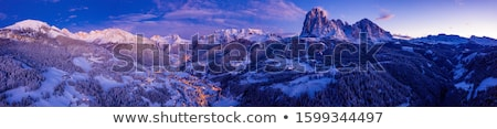 panoramic view on ski slope and hotels in winter mountains stock photo © bsani