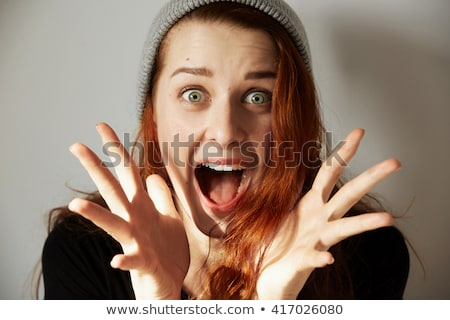 Gelukkig blonde vrouw schreeuwen handen omhoog witte handen Stockfoto © wavebreak_media
