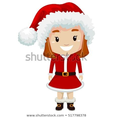 Stock photo: Cute little santa claus girl, vector illustration