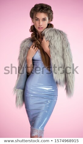 Elegante mulher látex vestir alternativa Foto stock © stryjek