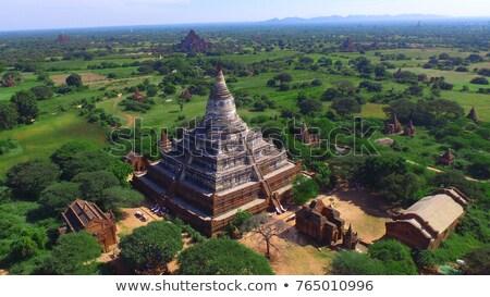 Aerial view on Shwesandaw Pagoda in Bagan Stock photo © Mikko