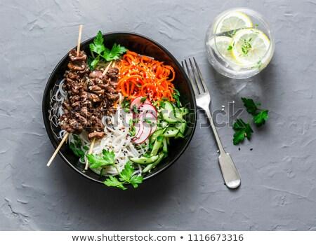 Zöldség nyárs rizs szeletek szalonna fehér Stock fotó © Digifoodstock