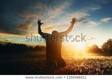 Kéz kiemelt menny kinyitott vár valami Stock fotó © idesign
