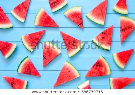 Stock fotó: Görögdinnye · szeletek · vágódeszka · felső · kilátás · szelektív · fókusz