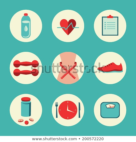 Fitness gym and healthy lifestyle flat round vector icons Stock photo © vectorikart