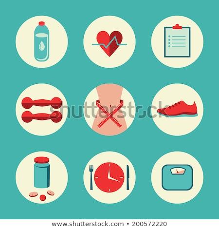 Fitness gimnasio vector iconos dieta Foto stock © vectorikart