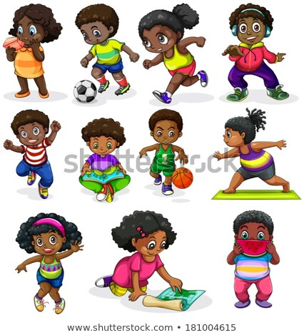 Black kids engaging in different activities Stock photo © bluering