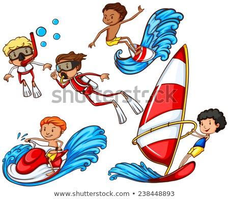 группа людей водные виды спорта рисунок белый фон мужчин Сток-фото © bluering