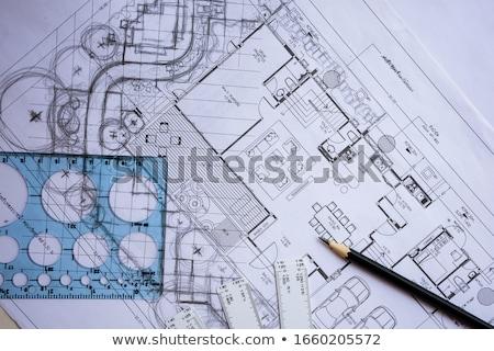 ストックフォト: 計画 · 青写真 · アーキテクチャ · 背景 · 研究