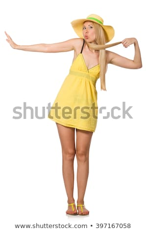 кавказский справедливой модель желтый лет платье Сток-фото © Elnur