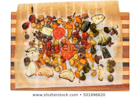 Top down view of grilled veggies on cutting board Stock photo © ozgur