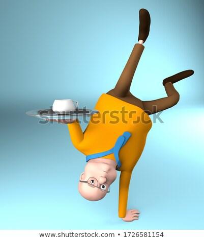 человека стойка на руках белый изолированный 3D изображение Сток-фото © ISerg