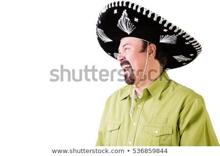 Vista lateral risonho homem mexicano sombrero seis Foto stock © ozgur