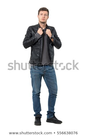 young man in leather jacket pulling collar stock photo © feedough