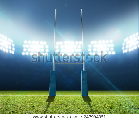 Rugby ball with goal posts under lights on the field at night Stock photo © tish1