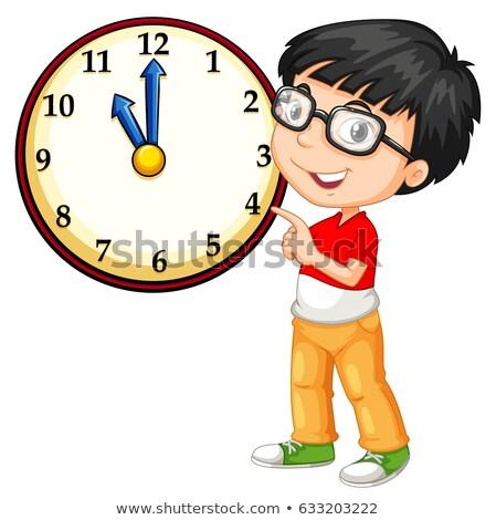 Asiático menino olhando grande relógio ilustração Foto stock © bluering