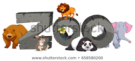 Zoo sign and many animals Stock photo © bluering