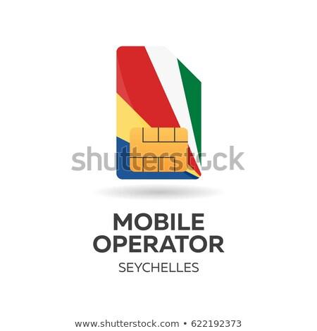Seychelles mobile operator. SIM card with flag. Vector illustration. Stock photo © Leo_Edition