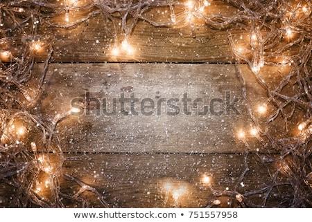 Christmas gratulacje lampy świetle ciemne śniegu Zdjęcia stock © romvo