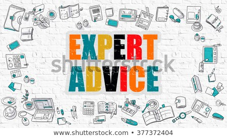 Experto consejo blanco pared de ladrillo garabato iconos Foto stock © tashatuvango