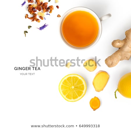 top view of cup of fresh hot coffee isolated on yellow stock photo © lightfieldstudios