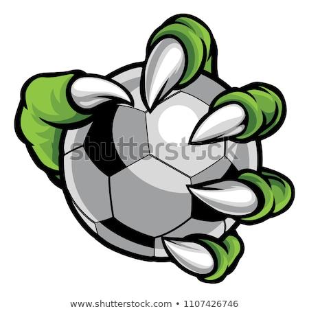 Foto stock: Monster Animal Claw Holding Soccer Football Ball
