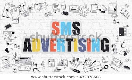 Sms реклама болван дизайна темно Сток-фото © tashatuvango