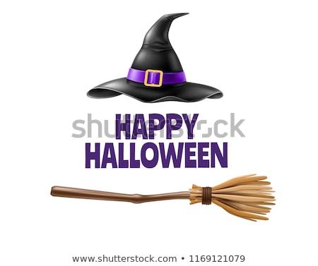 Halloween Witch Pointing at Sign Stock photo © Krisdog