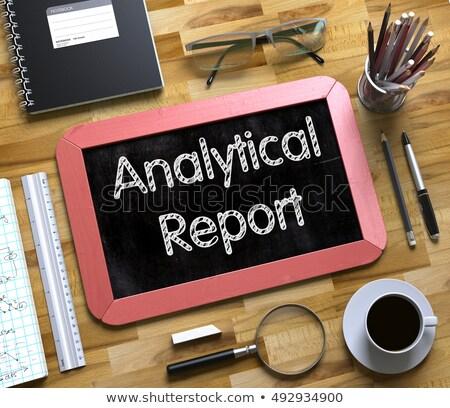 analytical report handwritten on small chalkboard 3d stock photo © tashatuvango