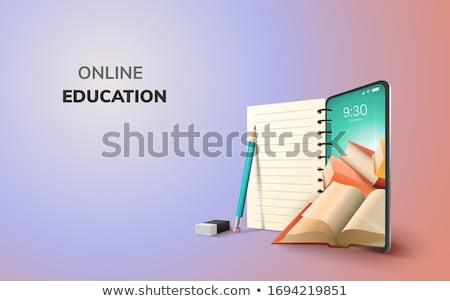 Oktatás könyvtár űrlap könyvespolcok nyitva könyvek Stock fotó © Olena