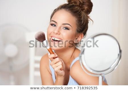 Nő smink ecset mosolyogva Stock fotó © lithian