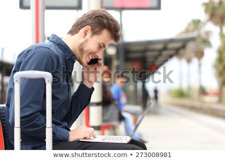 zakenman · touchpad · treinstation · hand · man · netwerk - stockfoto © is2