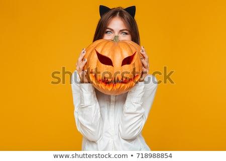 Stock fotó: Gyönyörű · fiatal · nő · halloween · jelmez · macska · kép