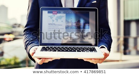üzlet · levelezés · laptop · képernyő · közelkép · 3D - stock fotó © tashatuvango