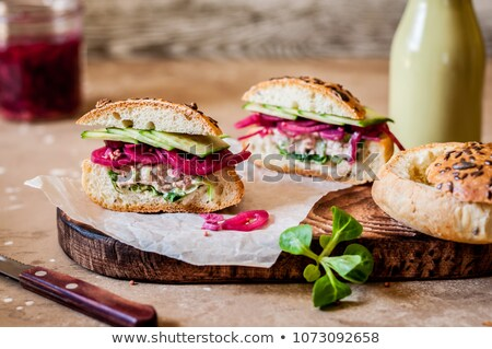 Brown Bread And Red Onion Stock photo © SRNR