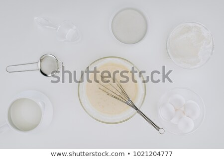 top view of utensils and ingredients for cooking pancakes isolated on grey  Stock photo © LightFieldStudios