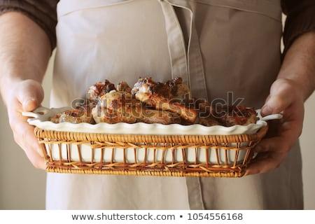 Adam el ele tutuşarak tava tavuk gıda Stok fotoğraf © Virgin