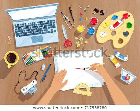 Topo ver ilustrações conjunto artista local de trabalho Foto stock © Sonya_illustrations