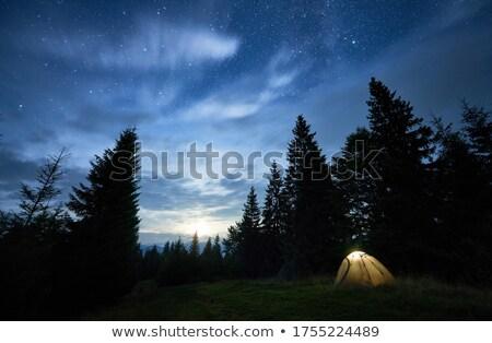 Toeristische glade bergen twee heuvel wandelen Stockfoto © Kotenko